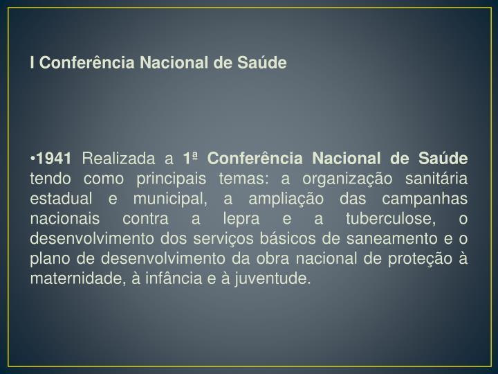 I Conferência Nacional de Saúde