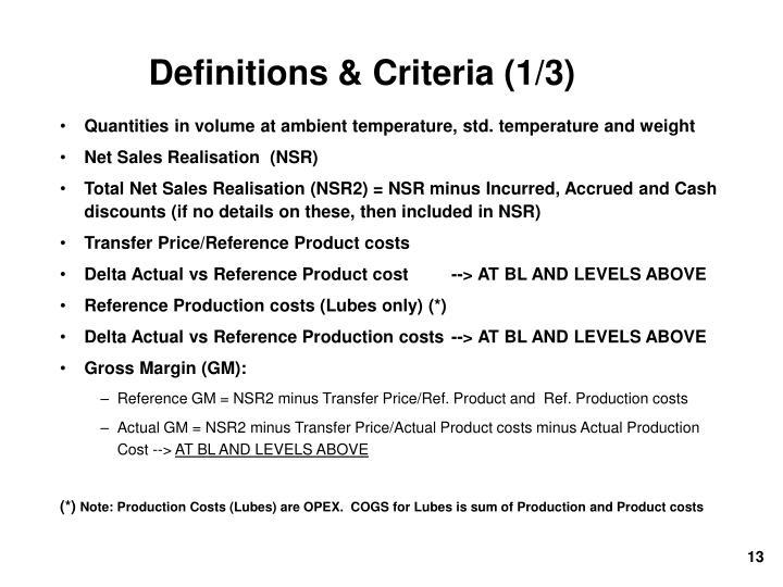 Definitions & Criteria (1/3)