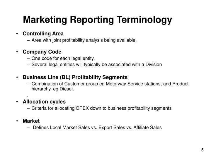 Marketing Reporting Terminology