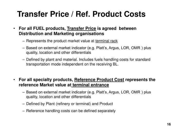 Transfer Price / Ref. Product Costs