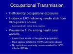occupational transmission