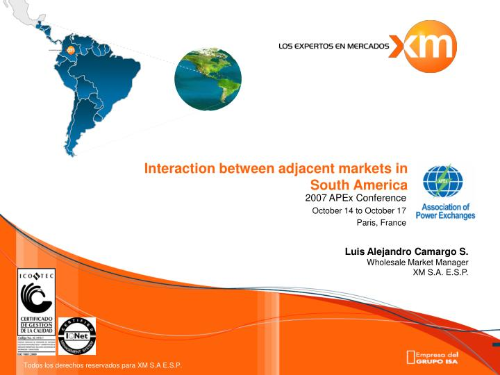 interaction between adjacent markets in south america n.