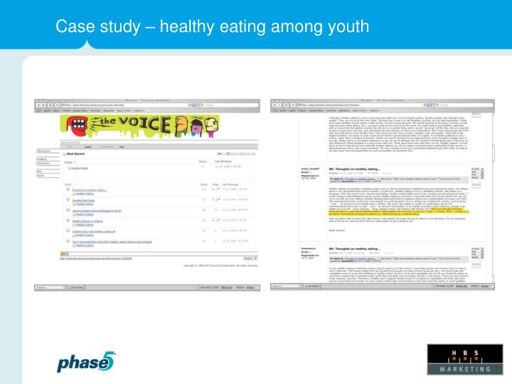 Case study – healthy eating among youth