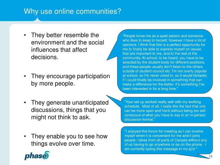 Why use online communities?