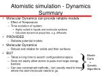 atomistic simulation dynamics summary