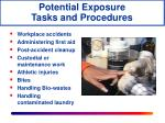 potential exposure tasks and procedures