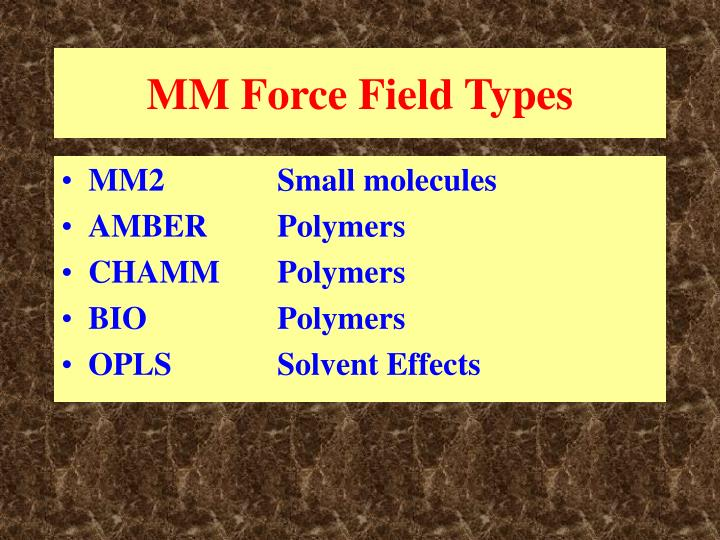 MM Force Field Types