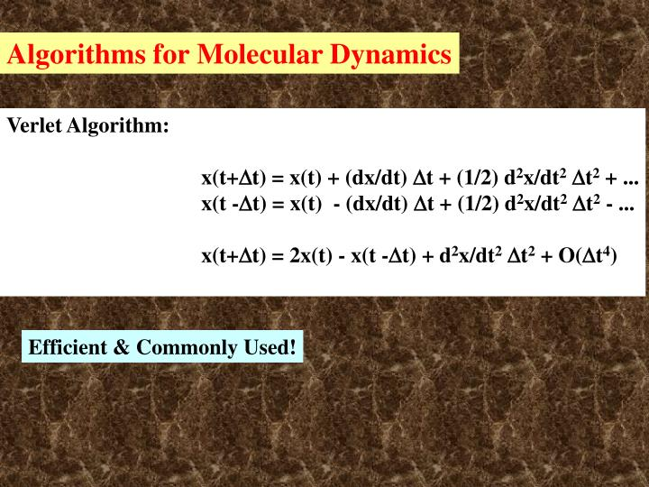 Algorithms for Molecular Dynamics