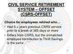 civil service retirement system offset csrs offset