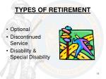 types of retirement