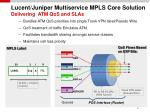 lucent juniper multiservice mpls core solution delivering atm qos and slas