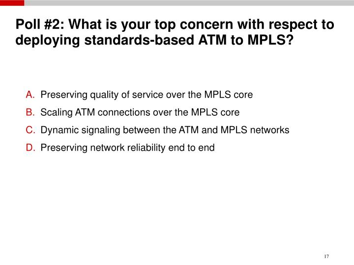 Poll #2: What is your top concern with respect to deploying standards-based ATM to MPLS?