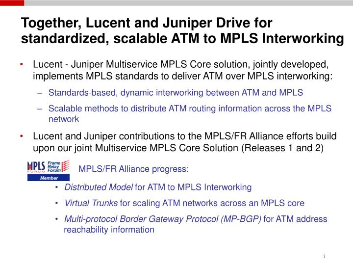 Together, Lucent and Juniper Drive for      standardized, scalable ATM to MPLS Interworking