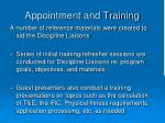 appointment and training