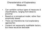 characteristics of explanatory measures