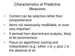 characteristics of predictive measures