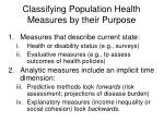 classifying population health measures by their purpose
