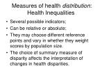 measures of health distribution health inequalities