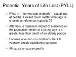 potential years of life lost pyll