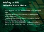 briefing on nfs athletics south africa