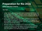 preparation for rio 2016