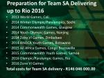 preparation for team sa delivering up to rio 2016