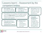 lessons learnt assessment by the competent bodies