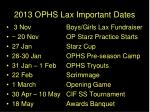 2013 ophs lax important dates