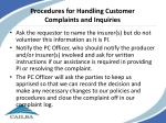 procedures for handling customer complaints and inquiries