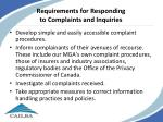 requirements for responding to complaints and inquiries