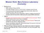 mission work mars science laboratory curiosity
