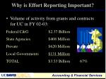why is effort reporting important