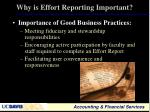 why is effort reporting important2