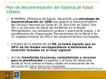 plan de descentralizaci n del sistema de salud chileno