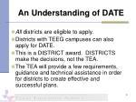 an understanding of date