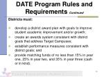 date program rules and requirements continued