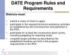 date program rules and requirements