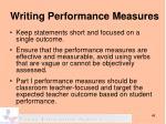 writing performance measures