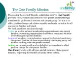 the one family mission