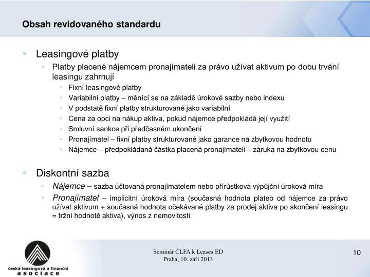 Obsah revidovaného standardu