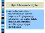 opis bibliograficzny to