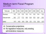 medium term fiscal program as of gdp