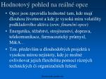 hodnotov pohled na re ln opce