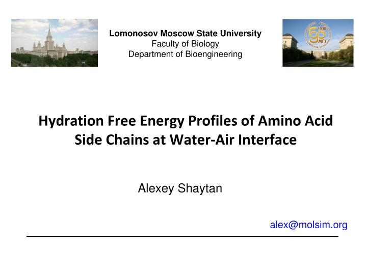 hydration free energy profiles of amino acid side chains at water air interface n.