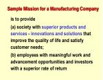 sample mission for a manufacturing company