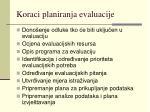 koraci planiranja evaluacije