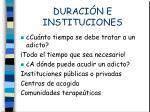 duraci n e instituciones