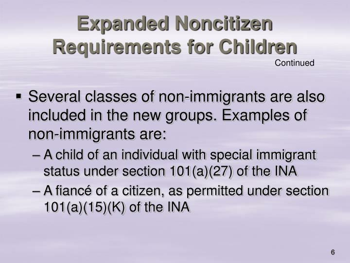 Expanded Noncitizen Requirements for Children