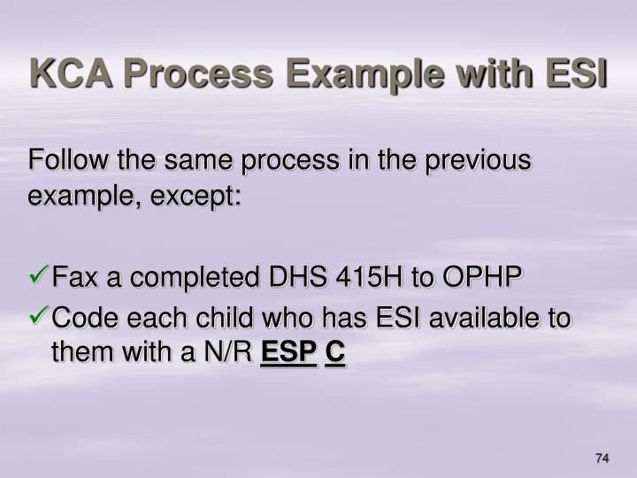 KCA Process Example with ESI