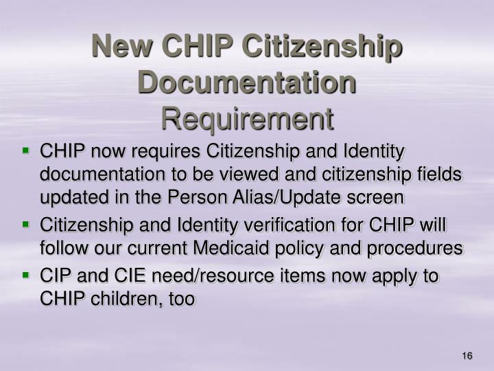 New CHIP Citizenship